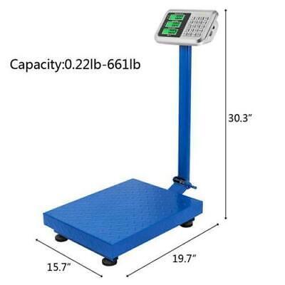 660lb Backlit Lcd Digital Floor Bench Scale Postal Platform Shipping 300kg Weigh