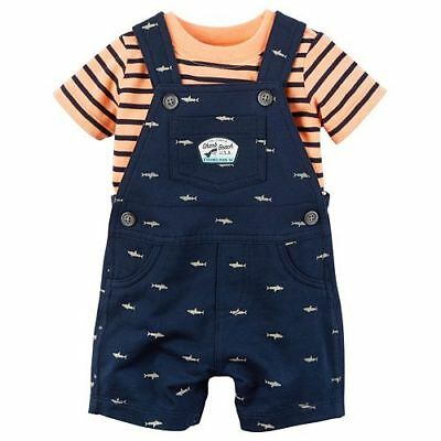 NWT Carter's® Baby Boy 100% Cotton Tee & French Terry Shortalls Set~Size 18 Mths