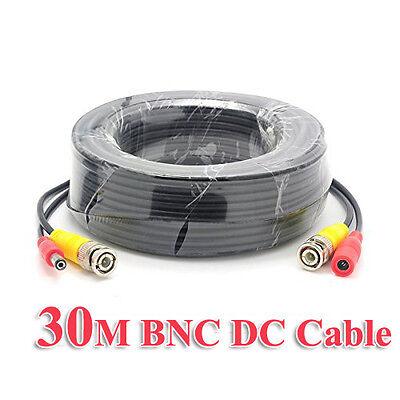 30M 100FT CCTV Camera DVR Video DC Power Security Surveillance BNC Cable Cord