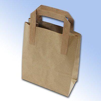 100 Brown Kraft Paper Carrier Bags Block Bottom 175 x 90 x 215mm 7 x 3.5 x 8.5