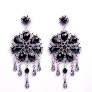 Black crystal earrings earrings ebay black crystal chandelier earrings mozeypictures Image collections