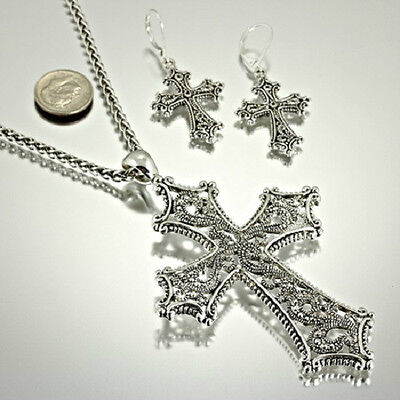 Cross Religious Big Bold Beautiful Christian New Necklace   Earrings Set   454 B
