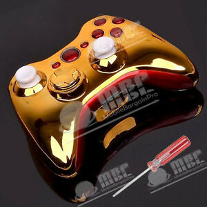 CUSTOM CHROME GOLD & RED SHELL CASE MODDED FOR XBOX 360 WIRELESS CONTROLLER+T8
