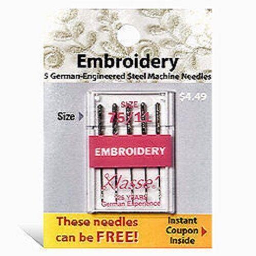 Klasse Embroidery Needles Size 75/11