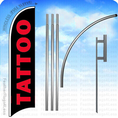 Tattoo - Windless Swooper Flag 15 Kit Tall Feather Banner Sign - Kb