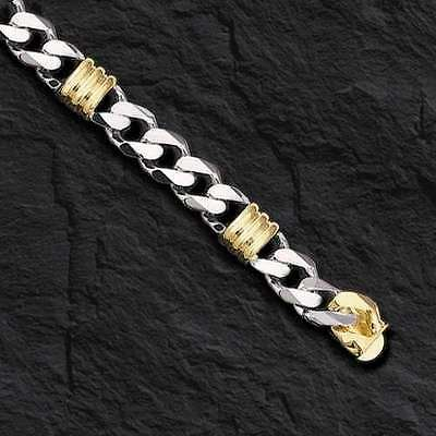 "14k Two Tone Gold Mens Handmade Fashion Chain Necklace 24"" 11MM 146 grams"