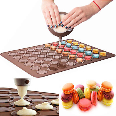 48cavity Silicone Macaron Baking Sheet Mat Muffin DIY Cake Pastry Chocolate Mold
