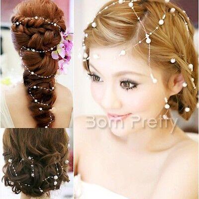 Haarschmuck Haarband Stirnband Braut Hochzeit Tiara Perlen Haarkette Stirnkette
