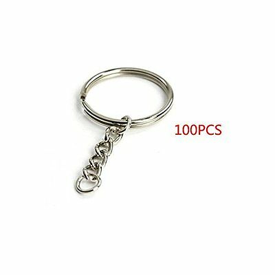 "Yueton Pack of 100 25mm/0.98"" Split Key Ring with Chain New"