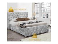 CHESTERFIELD CRUSHED VELVET BED FRAME HIGH QUALITY BED FRAME
