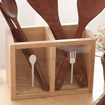 Wood Cutlery Caddy Kitchen Utensil Flatware Silverware Stainless Wooden Holder