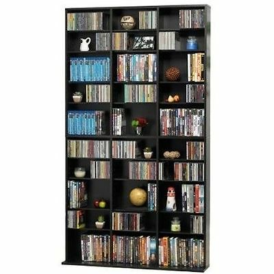 Media Storage Tower CD DVD Games Rack Cabinet Adjustable Shelves Organizer Shelf