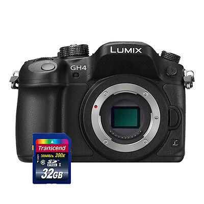 Panasonic Lumix DMC-GH4 Mirrorless Digital Camera Body Black + 32GB Card