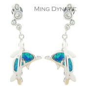 Blue Fire Opal Silver Earrings