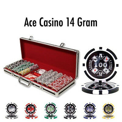 NEW 500 PC 14 Gram Ace Casino Clay Poker Chips Set Black Aluminum Case Custom