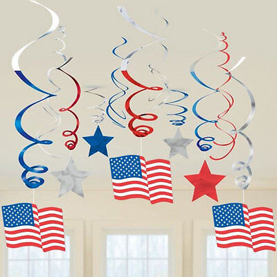 RED WHITE AND BLUE Patriotic SWIRL DECORATIONS (30) ~ Birthday Party Supplies