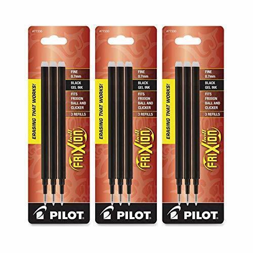 Pilot Gel Ink Refills for FriXion Erasable Gel Ink Pen, Fine Point, Black Ink