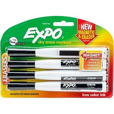 Expo 1944745 Magnetic Dry Erase Markers With Eraser Fine Tip Black 4-count