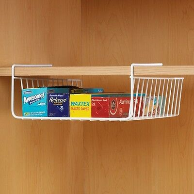 Storage Basket Organizer Kitchen Shelf Wire Under Cabinet Rack Cupboard Tray Bin