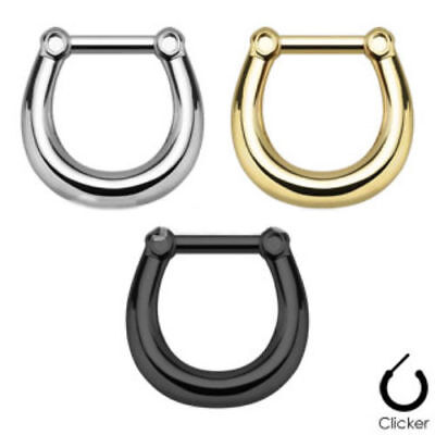 1pc Horseshoe Shaped Septum Clicker 316L Surgical Steel 16g Nose Ring
