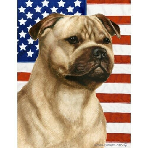 Patriotic (D2) House Flag - Fawn Staffordshire Bull Terrier 32245