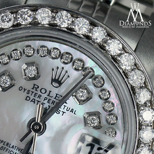 Ladies Rolex 26mm Datejust White Mother Of Pearl String Diamond Dial Watch