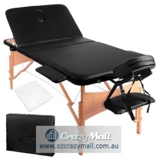 Wooden Foldable Portable Massage Table Bed Black or White
