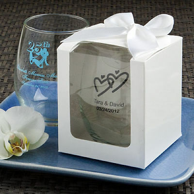 25-96 Personalized 9 oz Stemless Wine Glass w/ Display Boxes - Wedding Favors - Wine Glass Wedding Favors