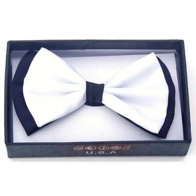 White Tuxedo Bow Tie (NEW Black / White Tuxedo Classic BowTie Neckwear Adjustable Men's Bow)
