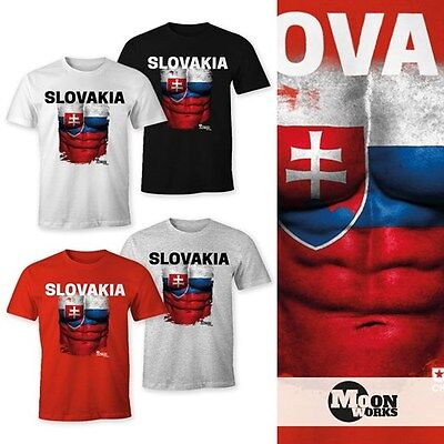 Slowakei Flagge T-shirt (EM T-Shirt Herren Fußball Slowakei Flagge Fanshirt Waschbrettbauch MoonWorks®)