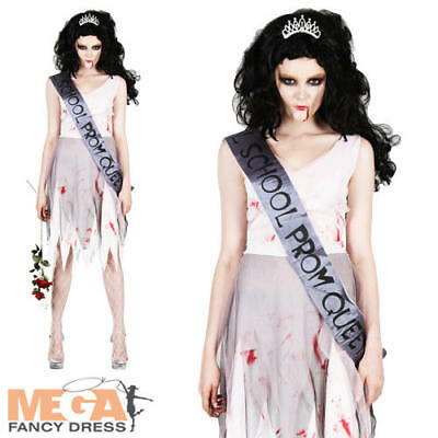 Prom Night Zombie Queen Ladies Halloween Fancy Dress Costume Outfit UK 6-24