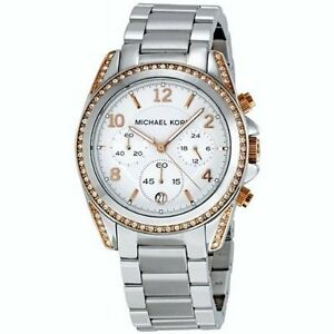 MK MICHAEL KORS MONTRE SILVER ROSE GOLD DETAIL FACE