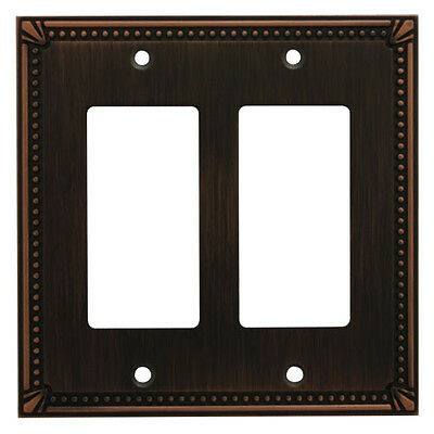 Oil Rubbed Bronze Double Decora / GFCI Rocker Switch Wall Plate Cover 44098-ORB