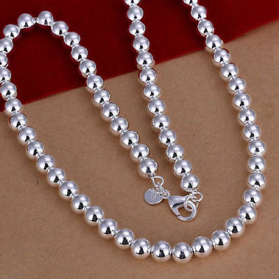 New Women Fashion Jewelry 925 Sterling Silver Plated 20 Inch 6MM Bead Necklace
