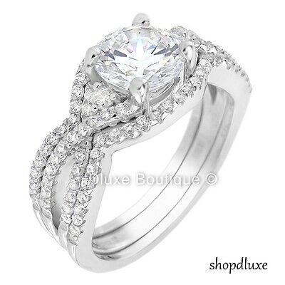 2.50 CT ROUND CUT AAA CZ .925 STERLING SILVER WOMEN'S 3 PIEC
