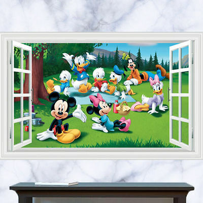Removable Mickey Mouse 3D Window Decal Art Wall Sticker Home Decor Art Mural
