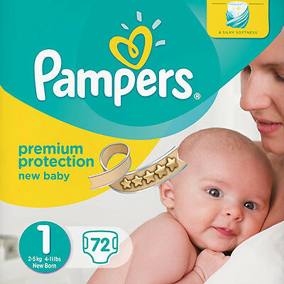 72 PAMPERS NEW BABY NAPPIES JUMBO PACK - SIZE 1 NEW BORN 2-5 KG PREMIUM PROTECT