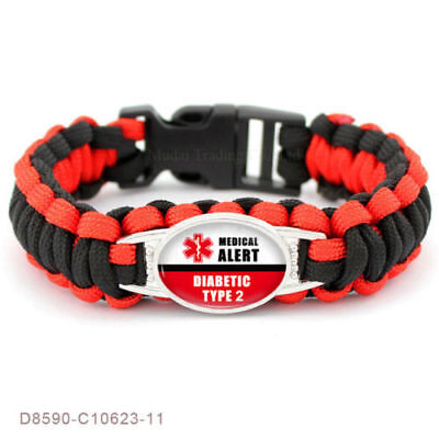 Paracord Bracelet Diabetic Alert Survival Type 1 Or 2 Black Red Us Seller