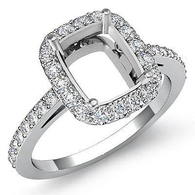 Diamond Engagement Filigree Ring Cushion Semi Mount 14k W Gold Halo Pave 0.45Ct