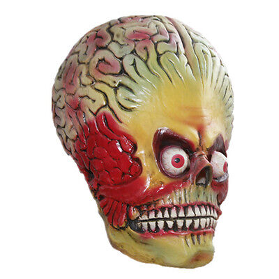 Voller Kopf Latex Alien Maske Gehirn Attack Halloween UFO Mars Marsmensch - Mars Attacks Alien Kostüm