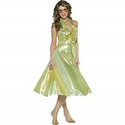 70's Disco Dancing Queen Costume Gold Lame' Halter Style Ruffled Front Costume S