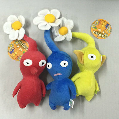 """NEW set of 3 PIKMIN  8"""" Red/Blue/Yellow Flower STUFFED PLUSH Stuffed Animal"""