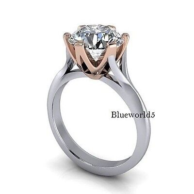 Solitaire 2Ct Off White Real Moissanite Engagement Ring 925 Sterling Silver Ring