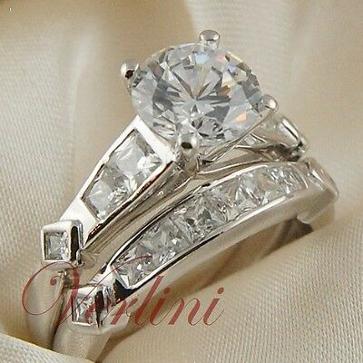 3.25 Ct Round Cut Cubic Zirconia 925 Silver Wedding Ring & Band Set Size 5-10