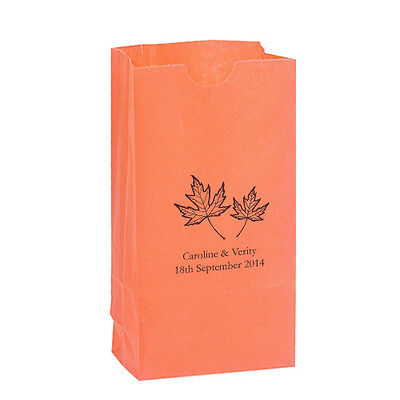 50 Fall Leaf Personalized Printed Autumn Wedding Favor Bags Candy Buffet - Fall Candy Buffet