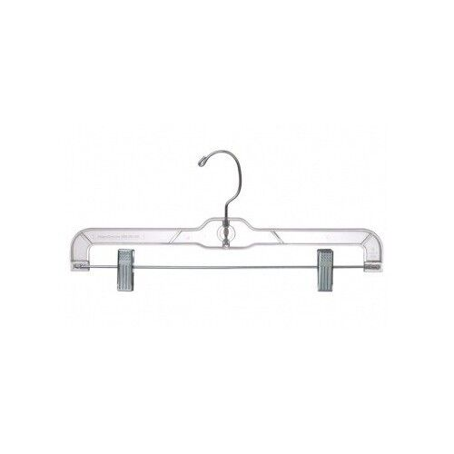 """14"""" Clear Plastic Skirt Pant Clothes Hangers W/ Clips"""