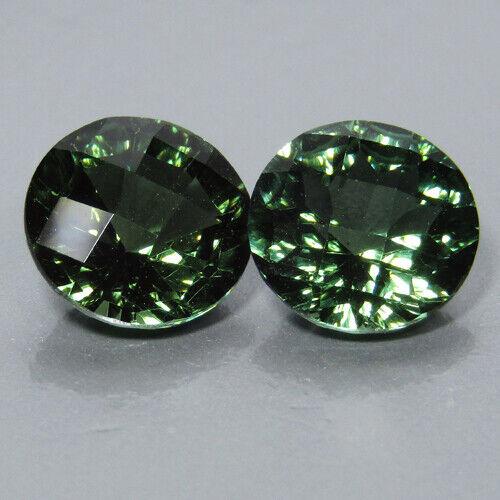 5.56Cts Stunning Natural Moldavite 9mm Round Checker Cut Matching Pair Gemstones