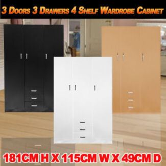 3 Doors 3 Drawers 4 Shelf Bedroom Wardrobe Cabinet Clothe Storage