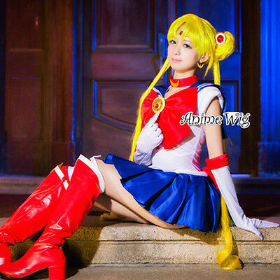 Sailor Moon Tsukino Usagi Yellow Long 100CM Anime Party Cosplay Wig Halloween US - Halloween Sailor Moon