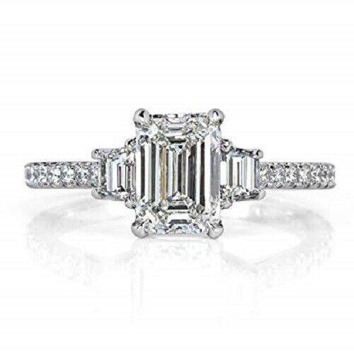 1.70 Ct 3-Stone Emerald Cut Diamond Eternity Engagement Ring F,VS1 GIA 14K WG